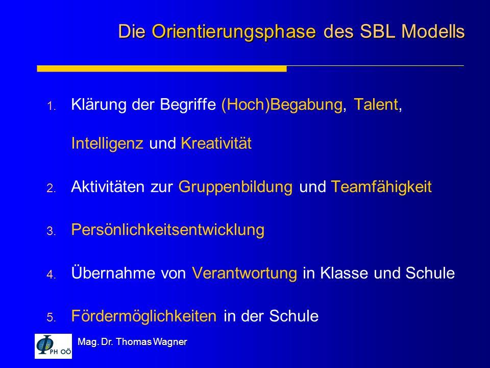 Mag. Dr. Thomas Wagner 1. Klärung der Begriffe (Hoch)Begabung, Talent, Intelligenz und Kreativität 2. Aktivitäten zur Gruppenbildung und Teamfähigkeit