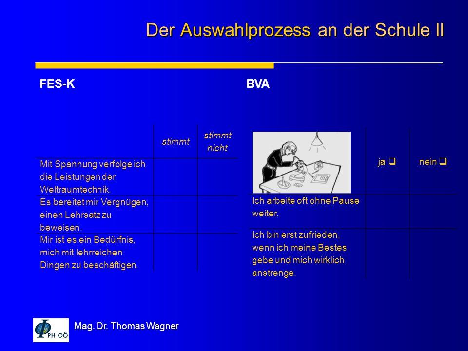 Mag. Dr. Thomas Wagner FES-KBVA Der Auswahlprozess an der Schule II stimmt stimmt nicht Mit Spannung verfolge ich die Leistungen der Weltraumtechnik.
