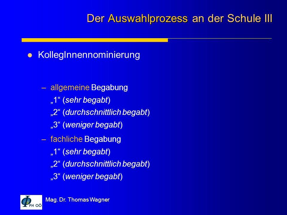 Mag. Dr. Thomas Wagner KollegInnennominierung –allgemeine Begabung 1 (sehr begabt) 2 (durchschnittlich begabt) 3 (weniger begabt) –fachliche Begabung
