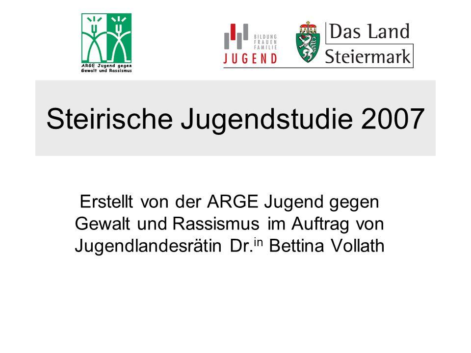Steirische Jugendstudie 2007 Erstellt von der ARGE Jugend gegen Gewalt und Rassismus im Auftrag von Jugendlandesrätin Dr. in Bettina Vollath