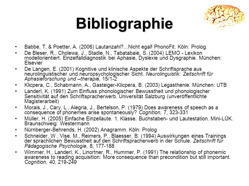 Bibliographie Babbe, T. & Poetter, A. (2006) Lautanzahl?...Nicht egal! PhonoFit. Köln: Prolog De Bleser, R., Cholewa, J., Stadie, N., Tabatabaie, S. (