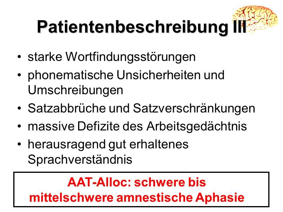 Patientenbeschreibung III starke Wortfindungsstörungen phonematische Unsicherheiten und Umschreibungen Satzabbrüche und Satzverschränkungen massive De