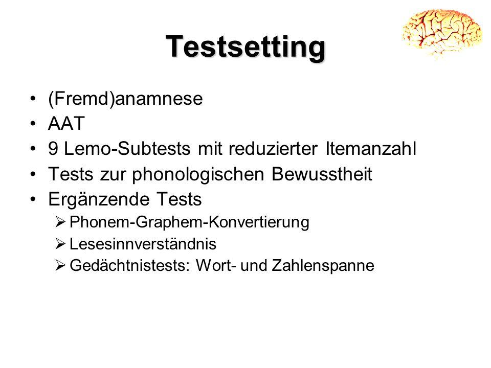 Testsetting (Fremd)anamnese AAT 9 Lemo-Subtests mit reduzierter Itemanzahl Tests zur phonologischen Bewusstheit Ergänzende Tests Phonem-Graphem-Konver