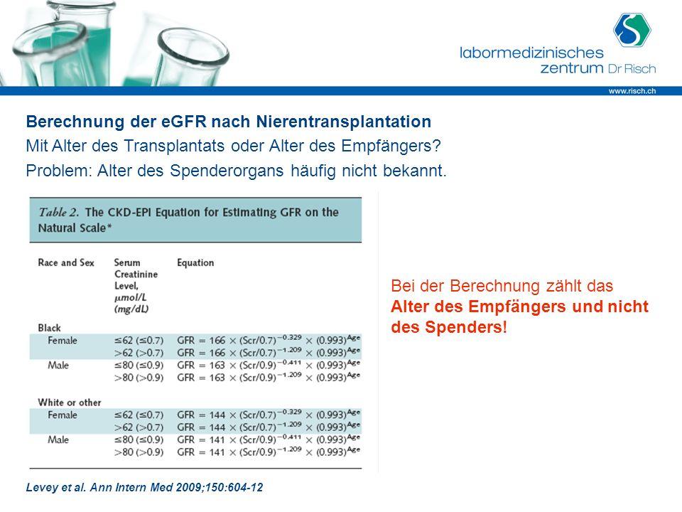 Berechnung der eGFR nach Nierentransplantation Mit Alter des Transplantats oder Alter des Empfängers? Problem: Alter des Spenderorgans häufig nicht be