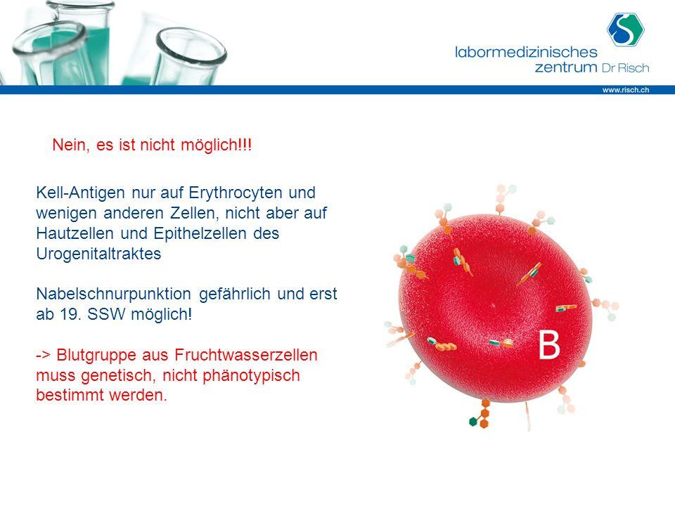 Kell-Antigen nur auf Erythrocyten und wenigen anderen Zellen, nicht aber auf Hautzellen und Epithelzellen des Urogenitaltraktes Nabelschnurpunktion ge