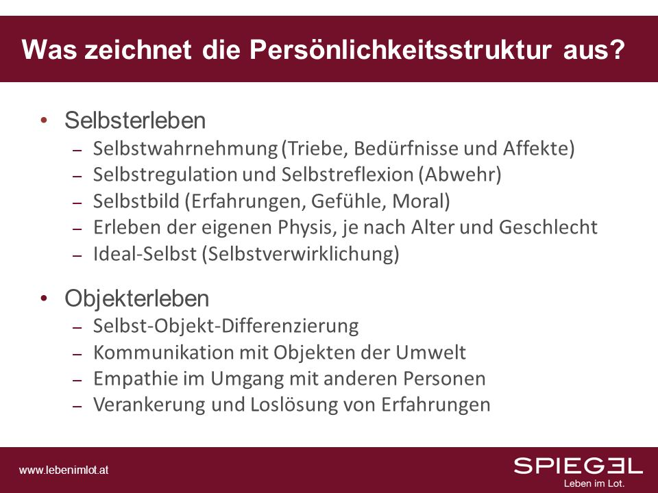 www.lebenimlot.at Selbsterleben – Selbstwahrnehmung (Triebe, Bedürfnisse und Affekte) – Selbstregulation und Selbstreflexion (Abwehr) – Selbstbild (Er