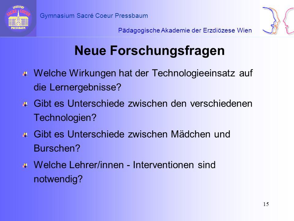 Pädagogische Akademie der Erzdiözese Wien Gymnasium Sacré Coeur Pressbaum 15 Neue Forschungsfragen Welche Wirkungen hat der Technologieeinsatz auf die
