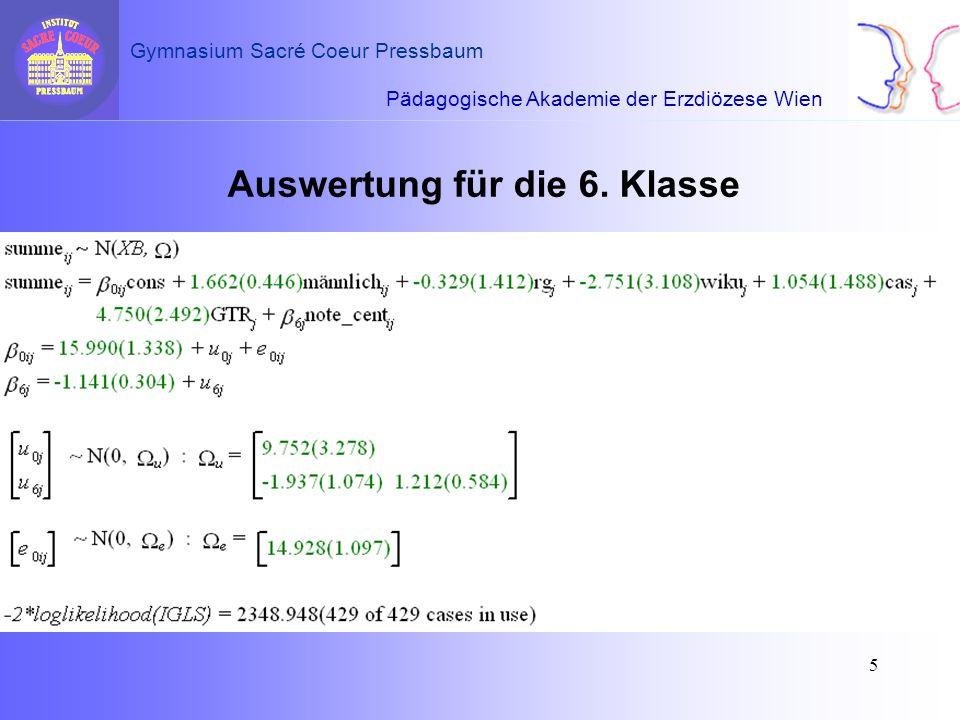 Pädagogische Akademie der Erzdiözese Wien Gymnasium Sacré Coeur Pressbaum 5 Auswertung für die 6. Klasse