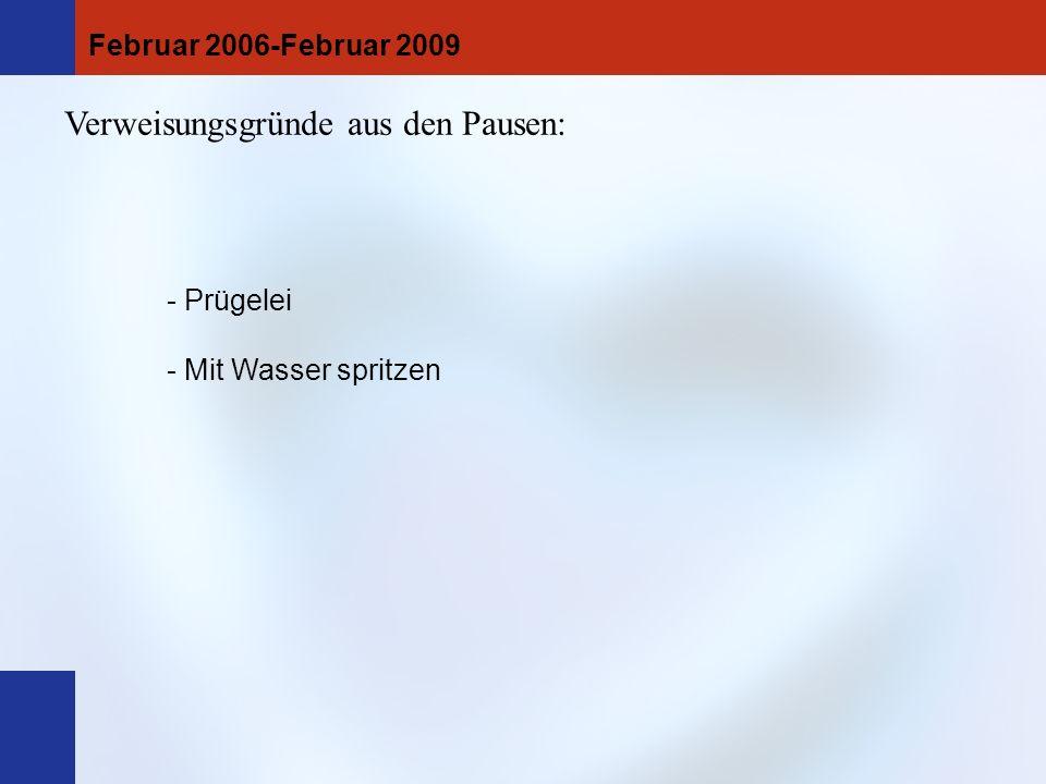 TR-Aufenthalte aus dem Unterricht heraus. Sortiert nach Tagen: Februar 2006-Februar 2009