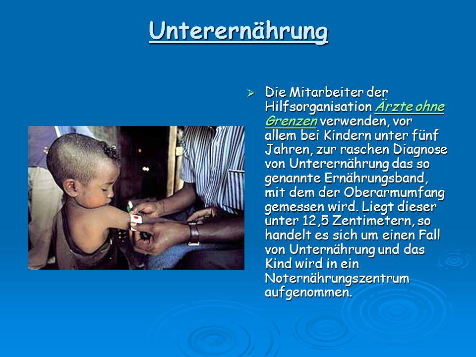 Unterernährung Unterernährung % Unterernährte Bevölkerung 35% 20 - 34% 5 - 9% 2,5 – 4% < 2,5% Keine Daten