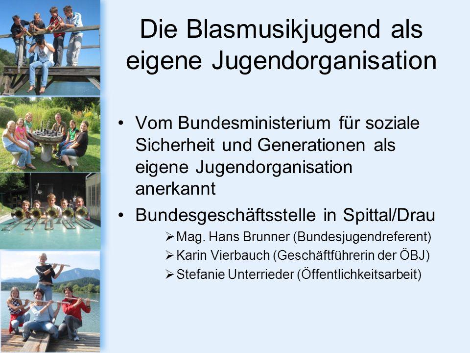 Die Blasmusikjugend als eigene Jugendorganisation Vom Bundesministerium für soziale Sicherheit und Generationen als eigene Jugendorganisation anerkannt Bundesgeschäftsstelle in Spittal/Drau Mag.