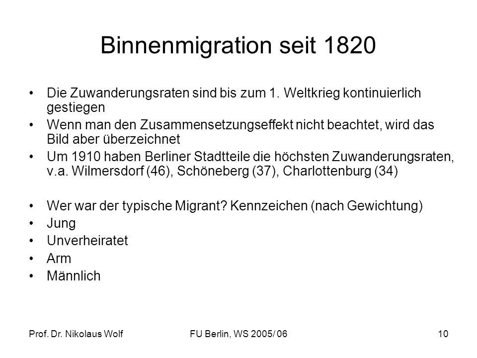 Prof. Dr. Nikolaus WolfFU Berlin, WS 2005/ 0610 Binnenmigration seit 1820 Die Zuwanderungsraten sind bis zum 1. Weltkrieg kontinuierlich gestiegen Wen