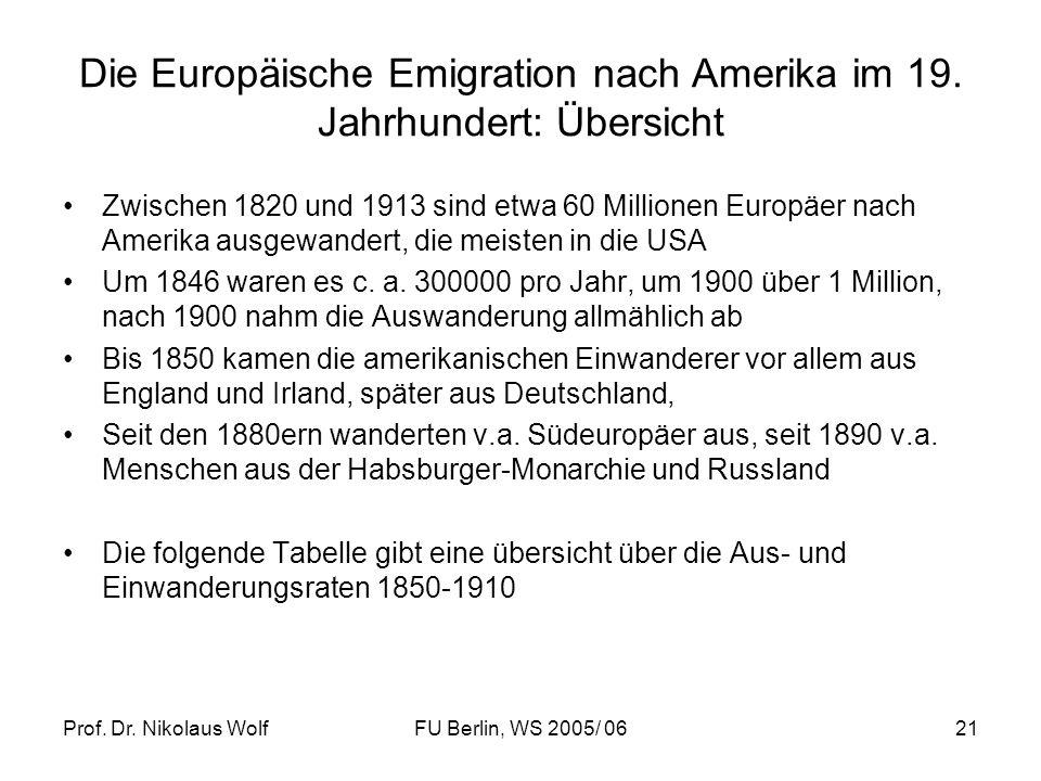 Prof. Dr. Nikolaus WolfFU Berlin, WS 2005/ 0621 Die Europäische Emigration nach Amerika im 19. Jahrhundert: Übersicht Zwischen 1820 und 1913 sind etwa