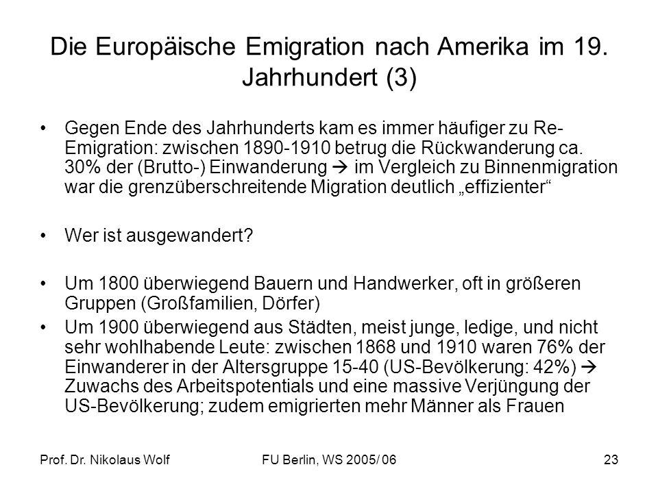 Prof. Dr. Nikolaus WolfFU Berlin, WS 2005/ 0623 Die Europäische Emigration nach Amerika im 19. Jahrhundert (3) Gegen Ende des Jahrhunderts kam es imme