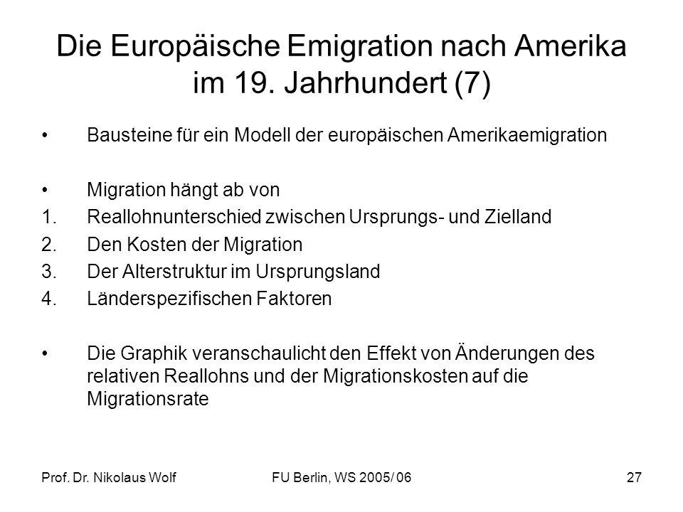 Prof. Dr. Nikolaus WolfFU Berlin, WS 2005/ 0627 Die Europäische Emigration nach Amerika im 19. Jahrhundert (7) Bausteine für ein Modell der europäisch