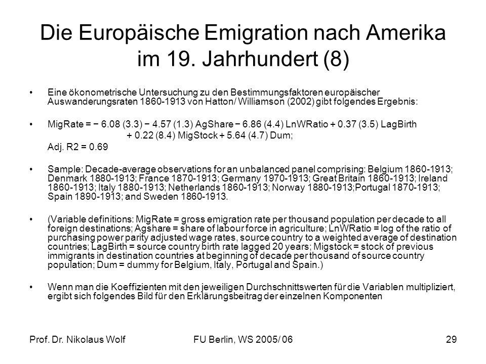 Prof. Dr. Nikolaus WolfFU Berlin, WS 2005/ 0629 Die Europäische Emigration nach Amerika im 19. Jahrhundert (8) Eine ökonometrische Untersuchung zu den