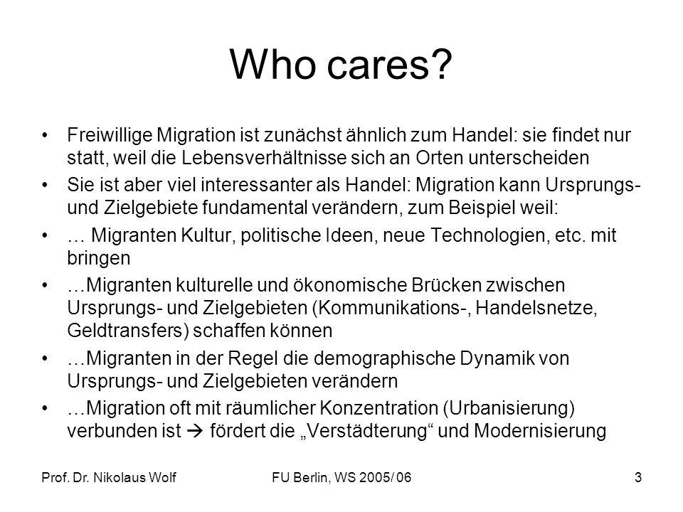 Prof. Dr. Nikolaus WolfFU Berlin, WS 2005/ 063 Who cares? Freiwillige Migration ist zunächst ähnlich zum Handel: sie findet nur statt, weil die Lebens