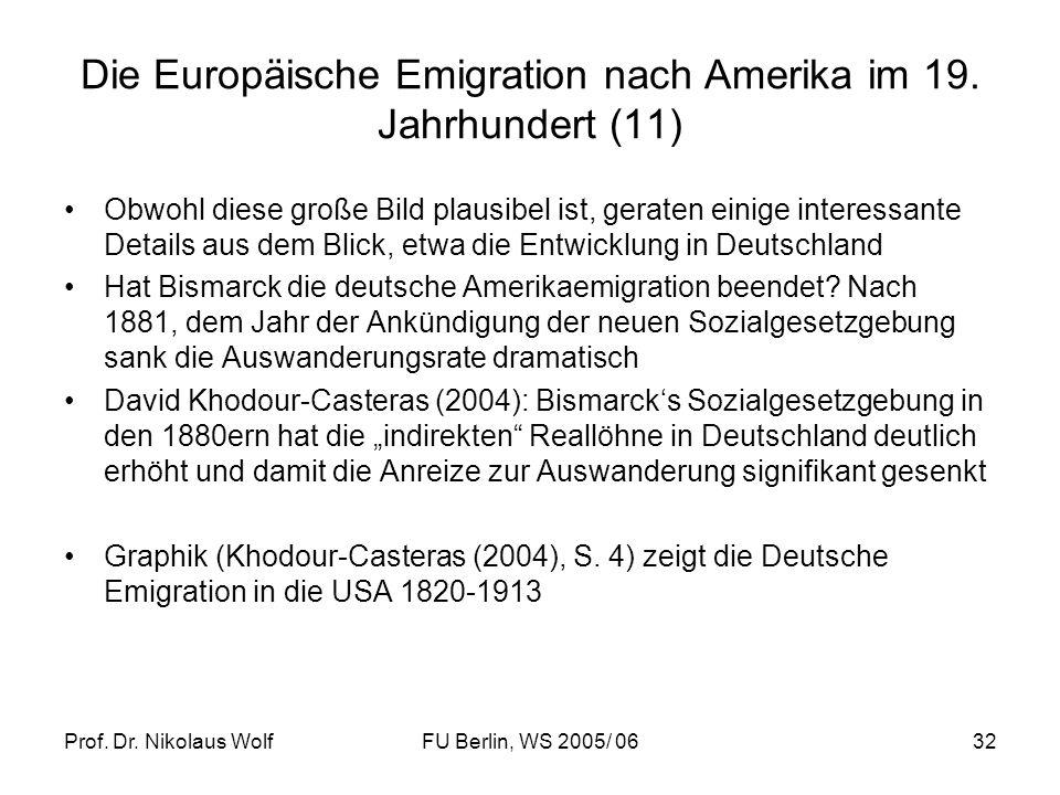 Prof. Dr. Nikolaus WolfFU Berlin, WS 2005/ 0632 Die Europäische Emigration nach Amerika im 19. Jahrhundert (11) Obwohl diese große Bild plausibel ist,