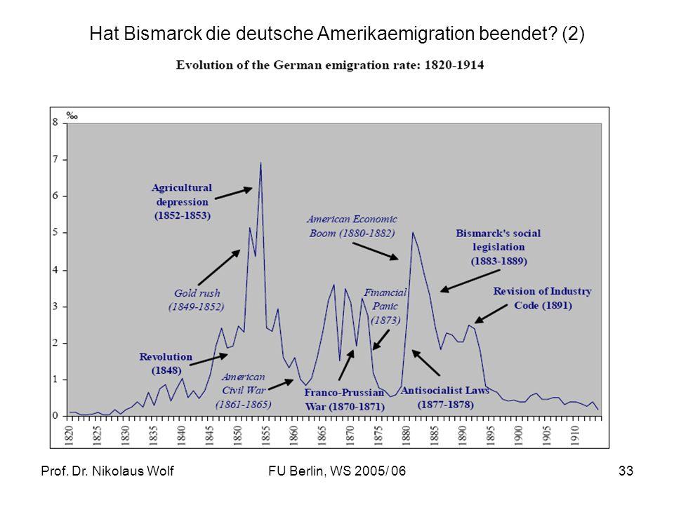 Prof. Dr. Nikolaus WolfFU Berlin, WS 2005/ 0633 Hat Bismarck die deutsche Amerikaemigration beendet? (2)
