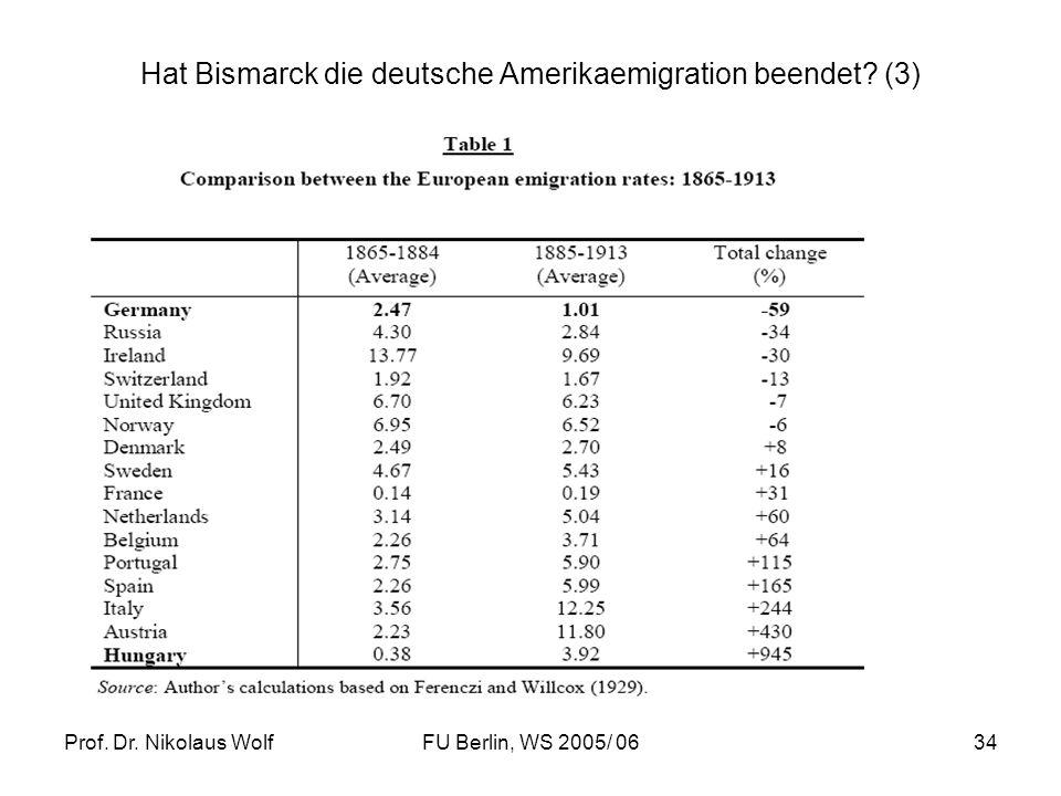 Prof. Dr. Nikolaus WolfFU Berlin, WS 2005/ 0634 Hat Bismarck die deutsche Amerikaemigration beendet? (3)