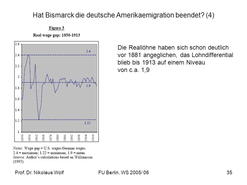 Prof. Dr. Nikolaus WolfFU Berlin, WS 2005/ 0635 Hat Bismarck die deutsche Amerikaemigration beendet? (4) Die Reallöhne haben sich schon deutlich vor 1