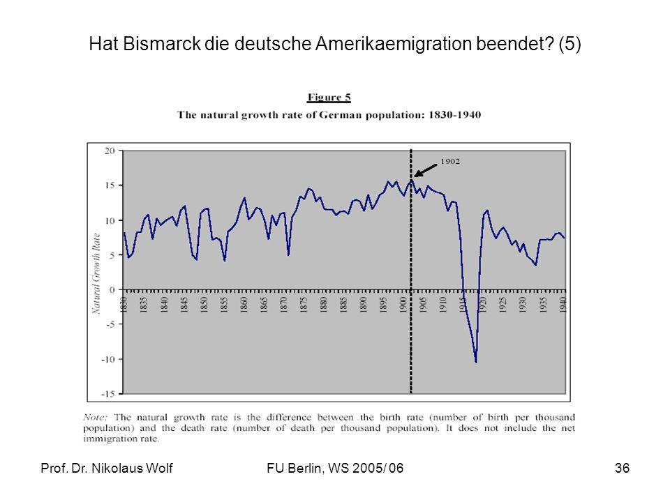 Prof. Dr. Nikolaus WolfFU Berlin, WS 2005/ 0636 Hat Bismarck die deutsche Amerikaemigration beendet? (5)