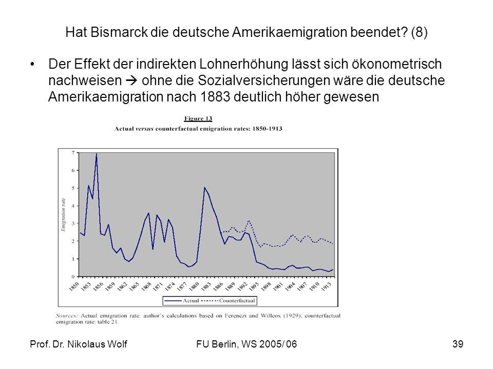 Prof. Dr. Nikolaus WolfFU Berlin, WS 2005/ 0639 Hat Bismarck die deutsche Amerikaemigration beendet? (8) Der Effekt der indirekten Lohnerhöhung lässt