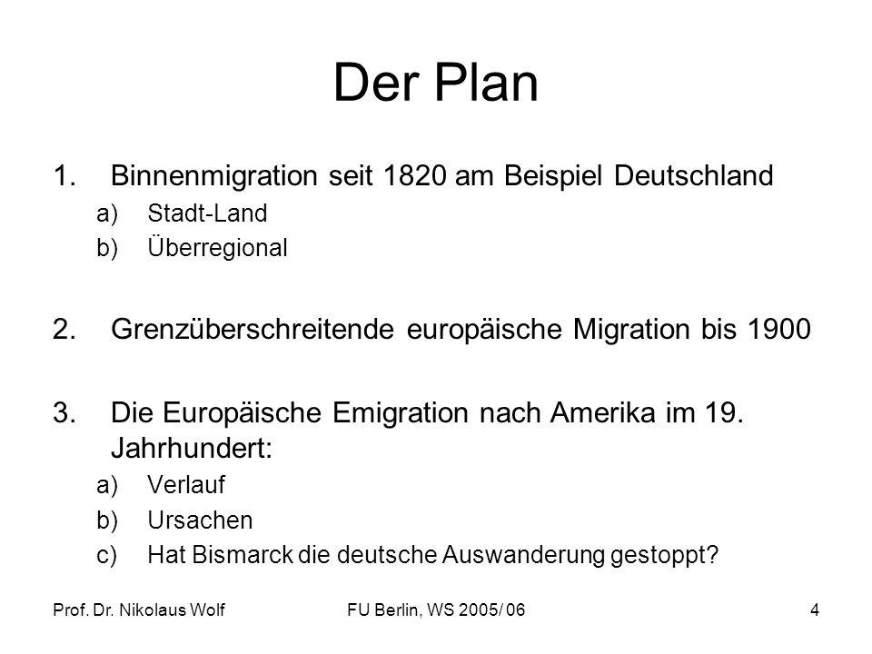 Prof. Dr. Nikolaus WolfFU Berlin, WS 2005/ 064 Der Plan 1.Binnenmigration seit 1820 am Beispiel Deutschland a)Stadt-Land b)Überregional 2.Grenzübersch