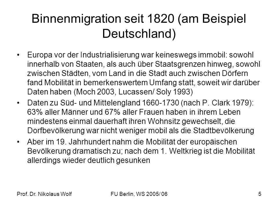 Prof. Dr. Nikolaus WolfFU Berlin, WS 2005/ 065 Binnenmigration seit 1820 (am Beispiel Deutschland) Europa vor der Industrialisierung war keineswegs im