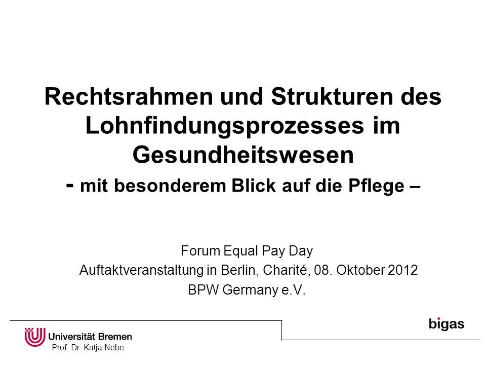 Prof. Dr. Katja Nebe Rechtsrahmen und Strukturen des Lohnfindungsprozesses im Gesundheitswesen - mit besonderem Blick auf die Pflege – Forum Equal Pay