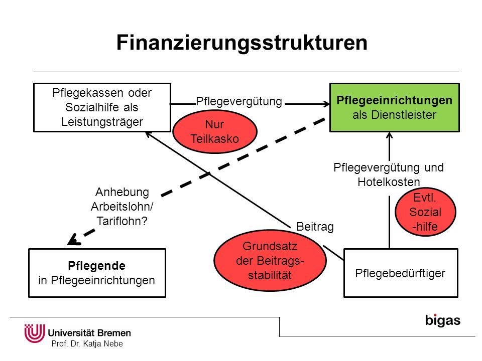 Prof. Dr. Katja Nebe Finanzierungsstrukturen Pflegekassen oder Sozialhilfe als Leistungsträger Pflegeeinrichtungen als Dienstleister Pflegende in Pfle
