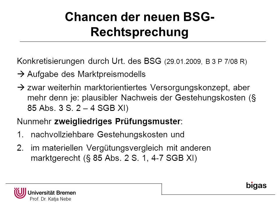 Prof. Dr. Katja Nebe Chancen der neuen BSG- Rechtsprechung Konkretisierungen durch Urt. des BSG (29.01.2009, B 3 P 7/08 R) Aufgabe des Marktpreismodel