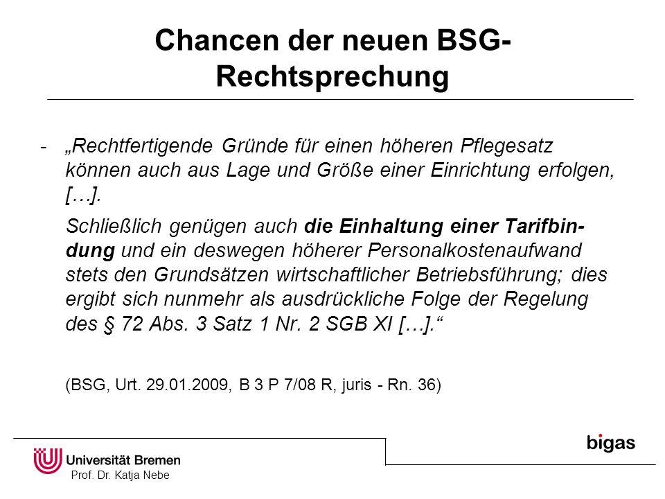 Prof. Dr. Katja Nebe Chancen der neuen BSG- Rechtsprechung -Rechtfertigende Gründe für einen höheren Pflegesatz können auch aus Lage und Größe einer E
