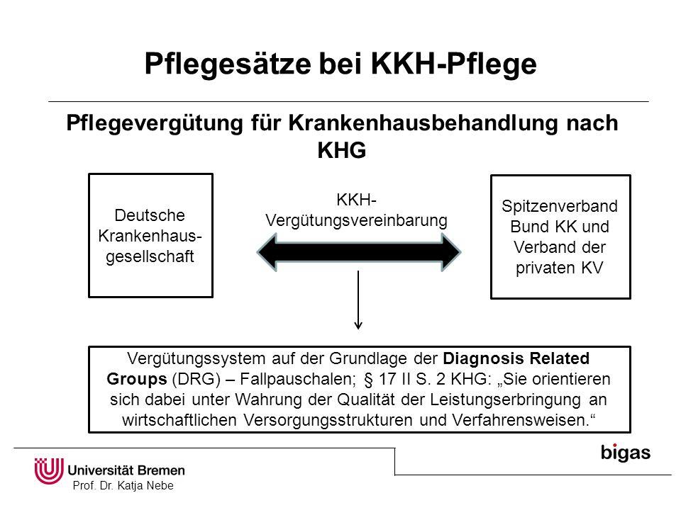 Prof. Dr. Katja Nebe Pflegesätze bei KKH-Pflege Pflegevergütung für Krankenhausbehandlung nach KHG Deutsche Krankenhaus- gesellschaft Spitzenverband B