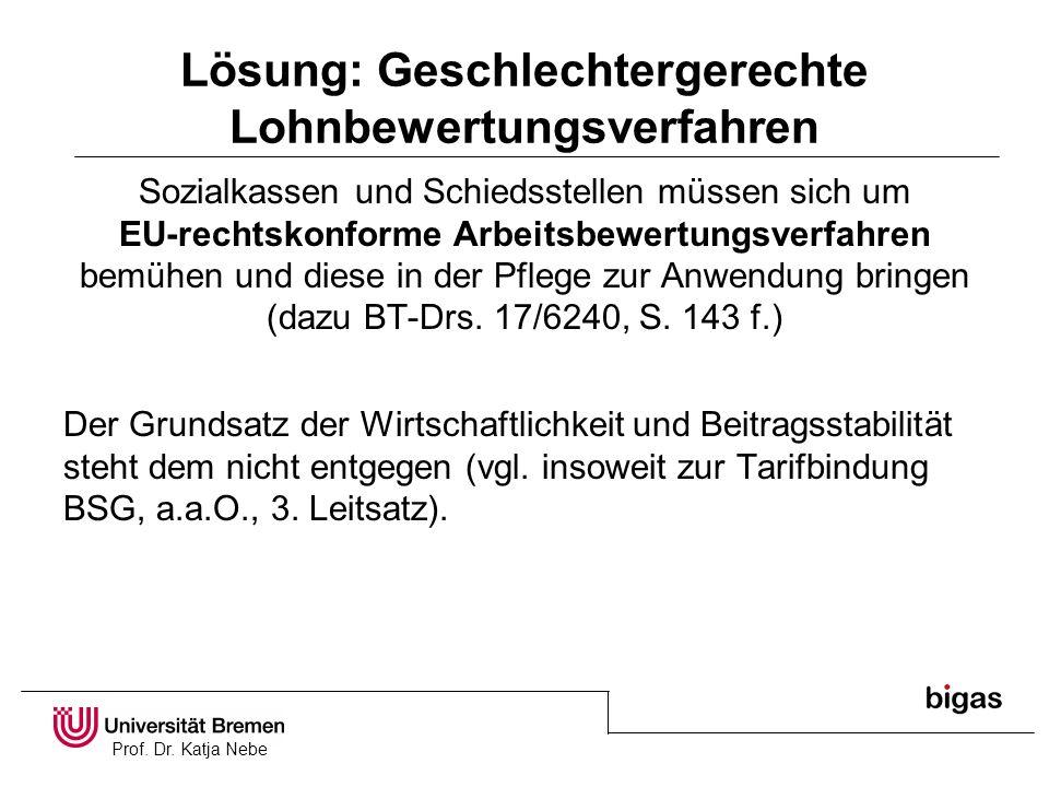 Prof. Dr. Katja Nebe Lösung: Geschlechtergerechte Lohnbewertungsverfahren Sozialkassen und Schiedsstellen müssen sich um EU-rechtskonforme Arbeitsbewe