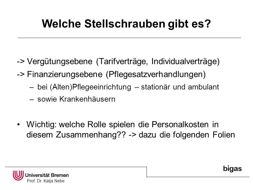 Prof. Dr. Katja Nebe Welche Stellschrauben gibt es? -> Vergütungsebene (Tarifverträge, Individualverträge) -> Finanzierungsebene (Pflegesatzverhandlun