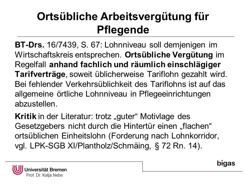 Prof. Dr. Katja Nebe Ortsübliche Arbeitsvergütung für Pflegende BT-Drs. 16/7439, S. 67: Lohnniveau soll demjenigen im Wirtschaftskreis entsprechen. Or