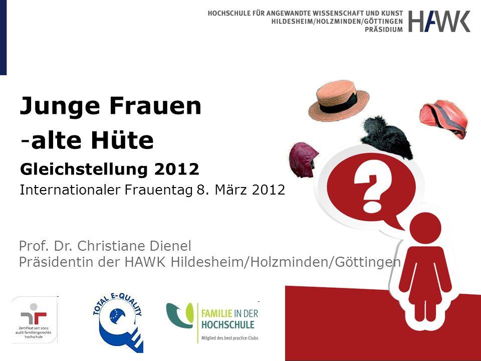 Junge Frauen -alte Hüte Gleichstellung 2012 Internationaler Frauentag 8. März 2012 Prof. Dr. Christiane Dienel Präsidentin der HAWK Hildesheim/Holzmin