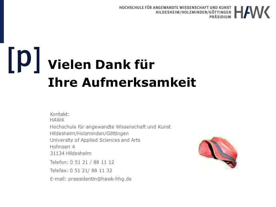 Vielen Dank für Ihre Aufmerksamkeit Kontakt: HAWK Hochschule für angewandte Wissenschaft und Kunst Hildesheim/Holzminden/Göttingen University of Appli