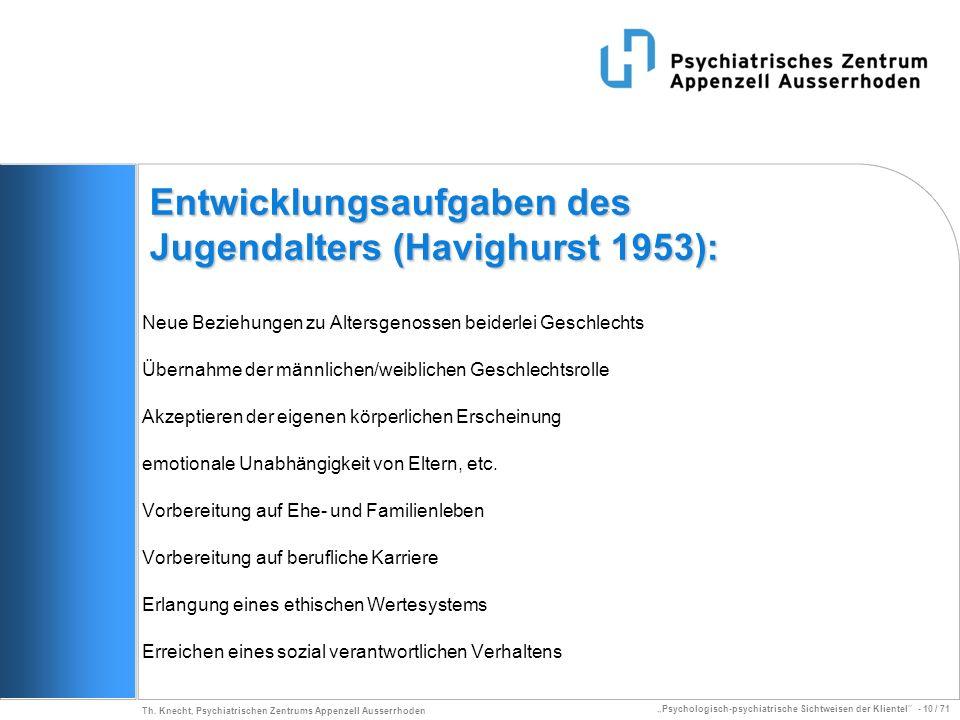 Psychologisch-psychiatrische Sichtweisen der Klientel - 10 / 71 Th. Knecht, Psychiatrischen Zentrums Appenzell Ausserrhoden Entwicklungsaufgaben des J