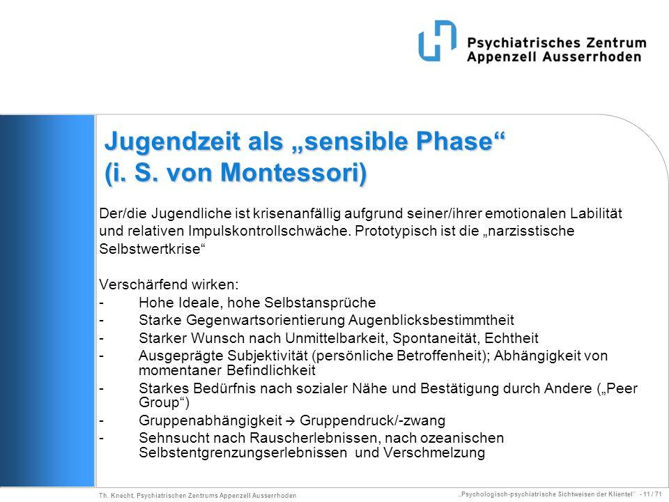 Psychologisch-psychiatrische Sichtweisen der Klientel - 11 / 71 Th. Knecht, Psychiatrischen Zentrums Appenzell Ausserrhoden Jugendzeit als sensible Ph