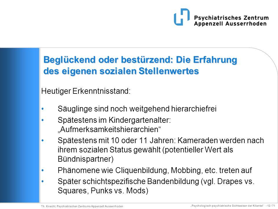 Psychologisch-psychiatrische Sichtweisen der Klientel - 12 / 71 Th. Knecht, Psychiatrischen Zentrums Appenzell Ausserrhoden Beglückend oder bestürzend