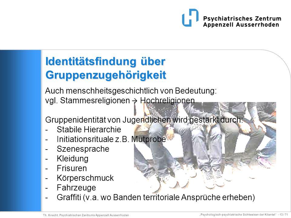 Psychologisch-psychiatrische Sichtweisen der Klientel - 13 / 71 Th. Knecht, Psychiatrischen Zentrums Appenzell Ausserrhoden Identitätsfindung über Gru