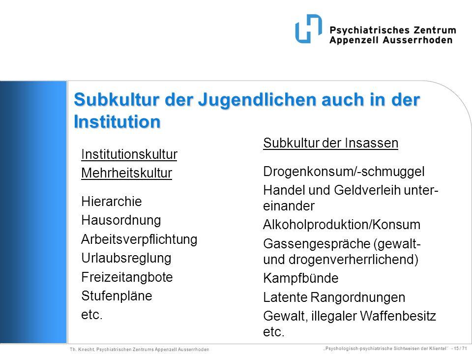 Psychologisch-psychiatrische Sichtweisen der Klientel - 15 / 71 Th. Knecht, Psychiatrischen Zentrums Appenzell Ausserrhoden Subkultur der Jugendlichen
