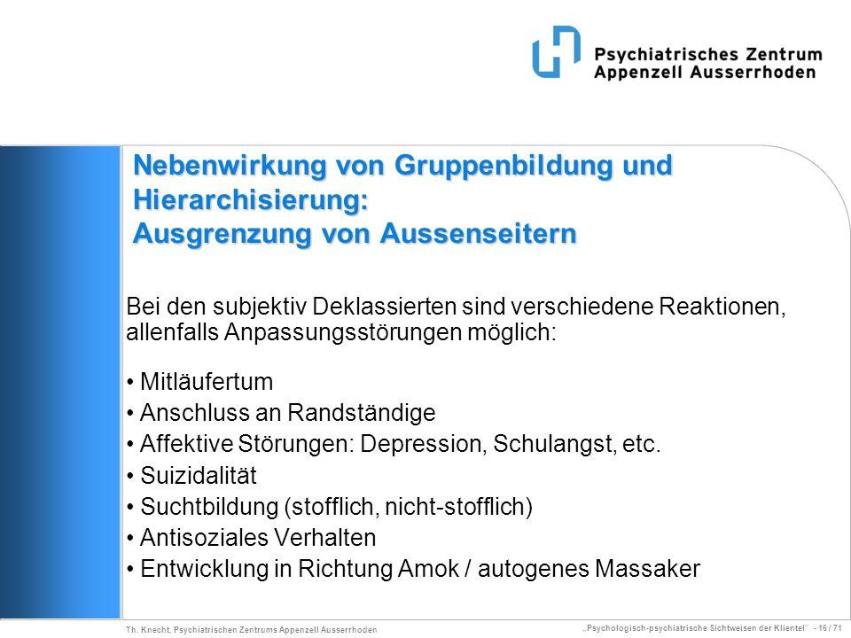 Psychologisch-psychiatrische Sichtweisen der Klientel - 16 / 71 Th. Knecht, Psychiatrischen Zentrums Appenzell Ausserrhoden Nebenwirkung von Gruppenbi