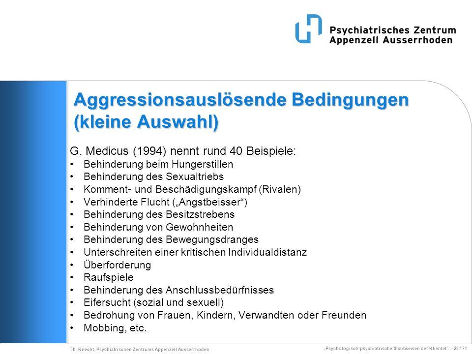 Psychologisch-psychiatrische Sichtweisen der Klientel - 23 / 71 Th. Knecht, Psychiatrischen Zentrums Appenzell Ausserrhoden Aggressionsauslösende Bedi