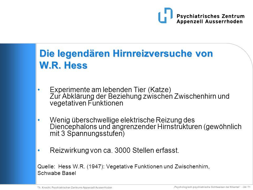 Psychologisch-psychiatrische Sichtweisen der Klientel - 24 / 71 Th. Knecht, Psychiatrischen Zentrums Appenzell Ausserrhoden Die legendären Hirnreizver