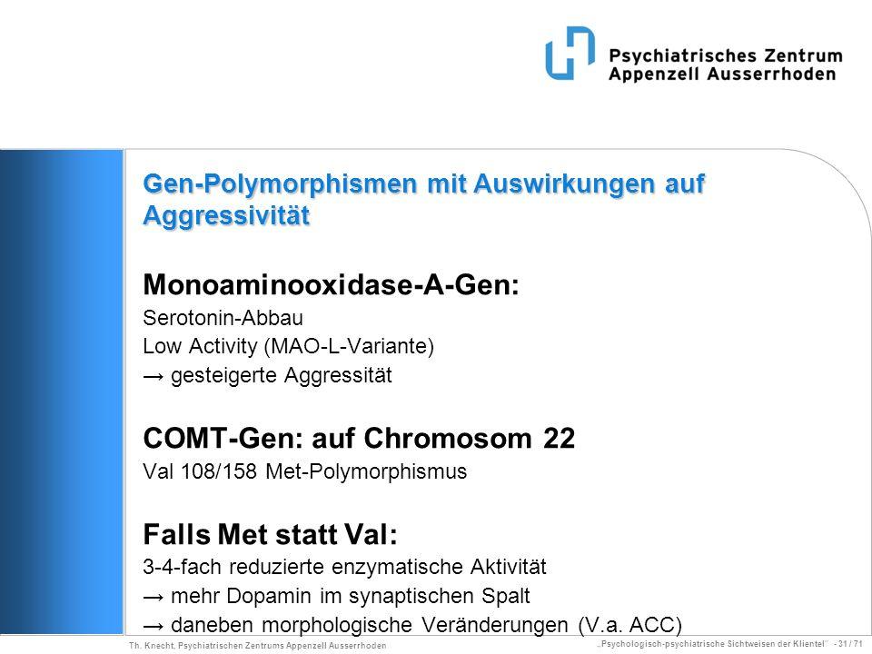Psychologisch-psychiatrische Sichtweisen der Klientel - 31 / 71 Th. Knecht, Psychiatrischen Zentrums Appenzell Ausserrhoden Monoaminooxidase-A-Gen: Se