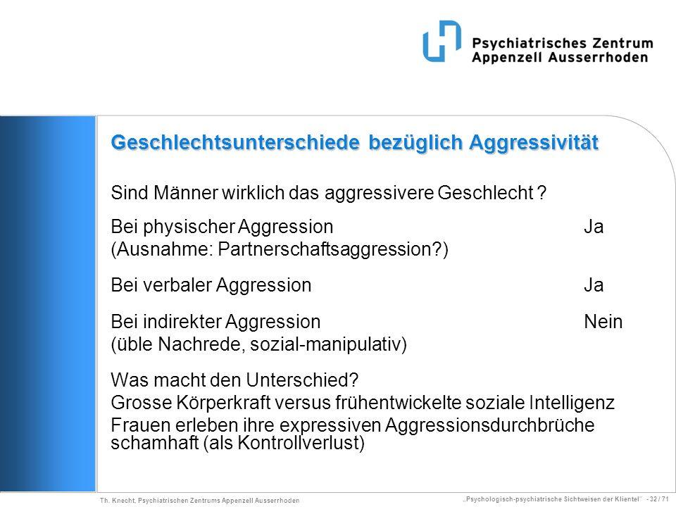 Psychologisch-psychiatrische Sichtweisen der Klientel - 32 / 71 Th. Knecht, Psychiatrischen Zentrums Appenzell Ausserrhoden Sind Männer wirklich das a