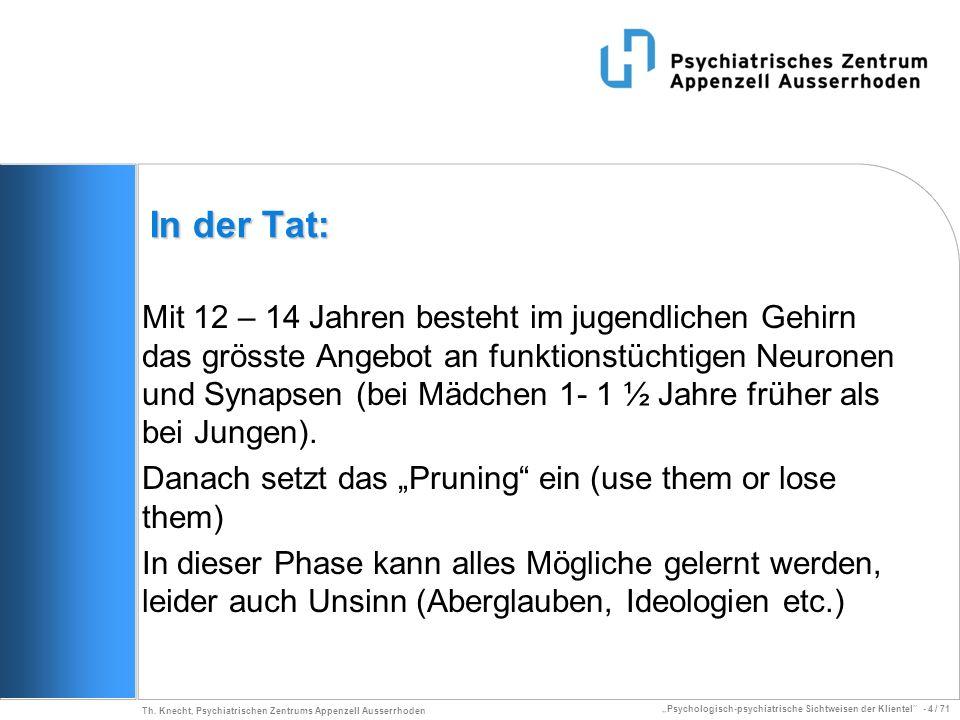 Psychologisch-psychiatrische Sichtweisen der Klientel - 4 / 71 Th. Knecht, Psychiatrischen Zentrums Appenzell Ausserrhoden In der Tat: Mit 12 – 14 Jah